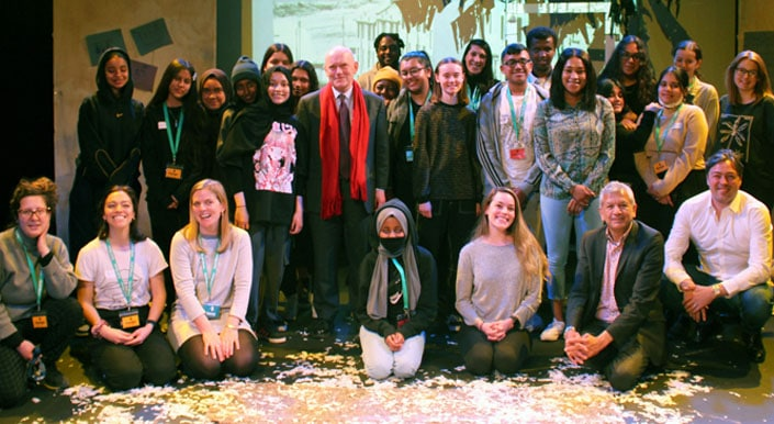 Mayor John Biggs with students Stepney All Saints during Careers in Theatre