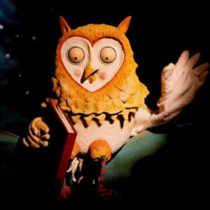 The trying to be wise Owl from The Hug by Long Nose Puppets